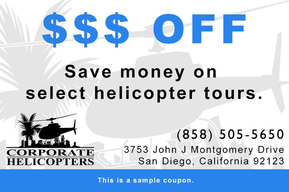 Save money on San Diego helicopter tours