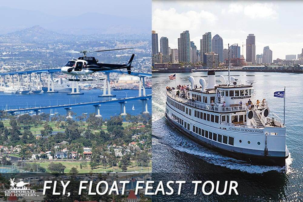 Helicopter tour and Hornblower cruise