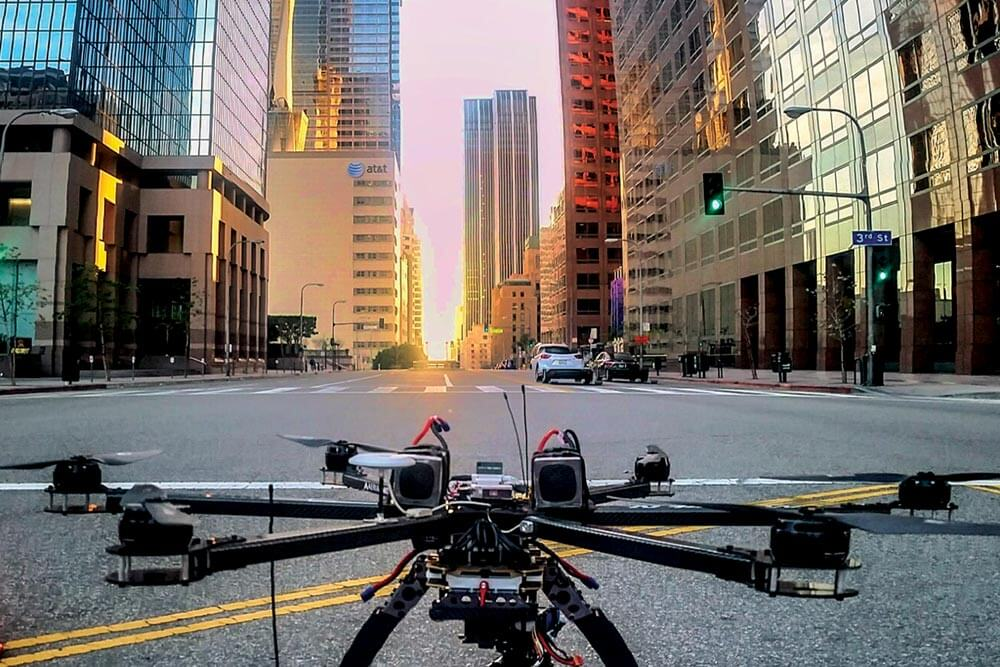 Aerial filming by drone in San Diego.