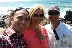 Mike, Lauren and Peter Clark after Mike popped the question at Punta Morro Resort in Ensenada, Mexico.