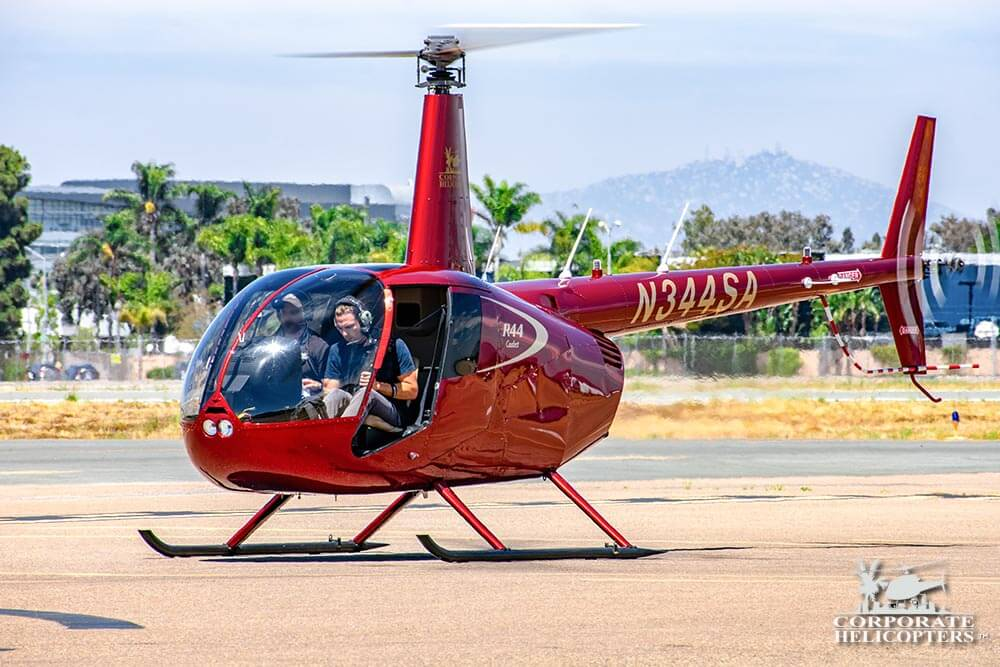Aerial Photography by helicopter. Robinson R44 with the door off. Corporate Helicopters of San Diego