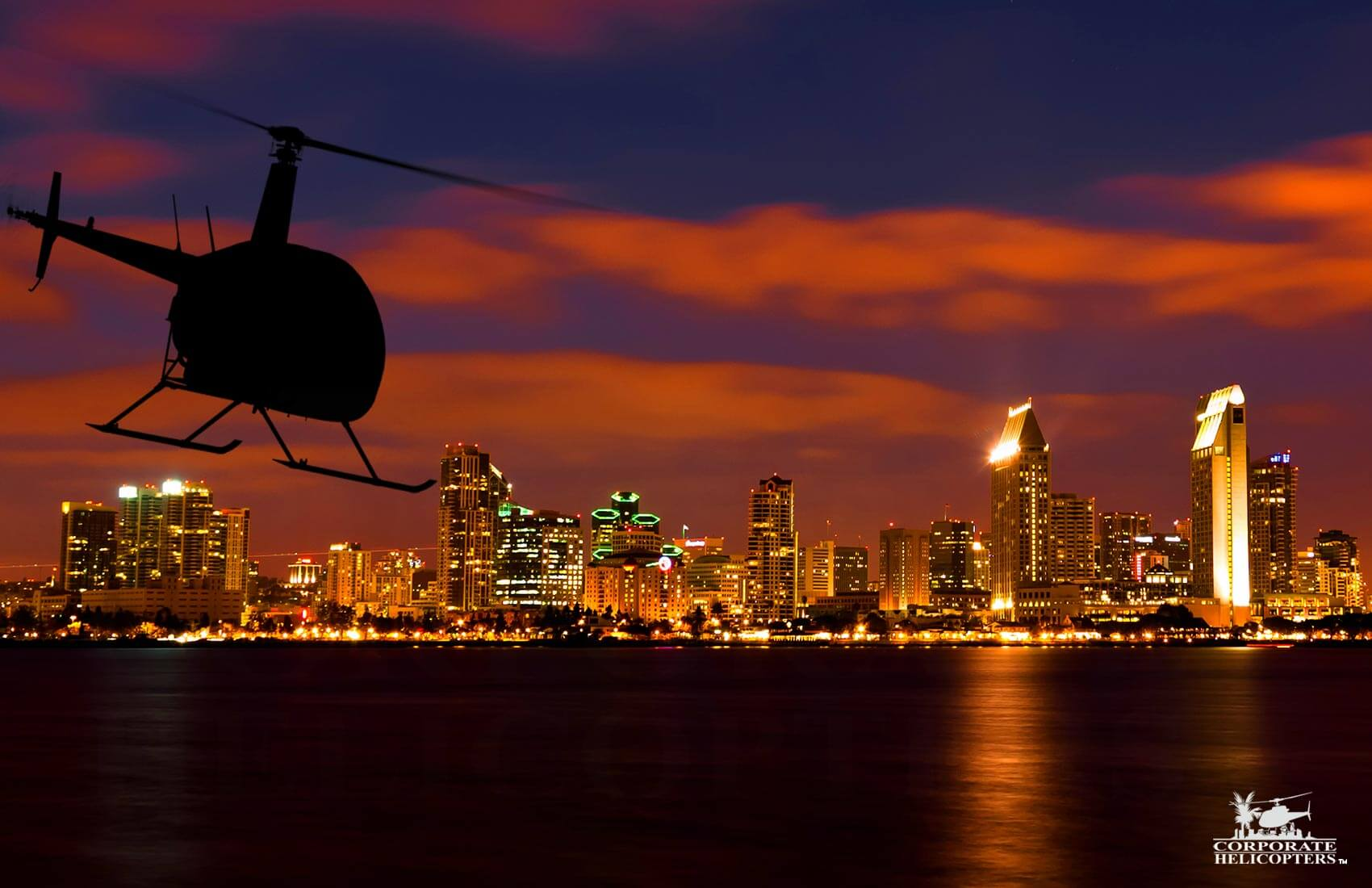 San Diego City Lights Helicopter Tour. A night time helicopter tour of San Diego featuring the holiday lights.