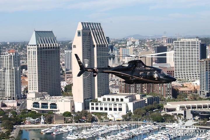 Corporate Helicopter flying over downtown San Diego