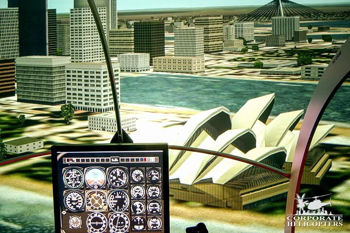 Our helicopter flight simulator allows for various scenarios including weather variations, emergency procedures, and locations.