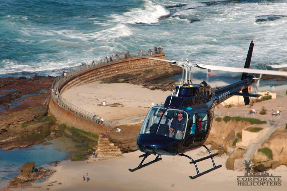 Helicopter tour of San Diego over the Children's Pool in La Jolla, .