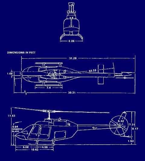 Bell Biii Jetranger Dimensions