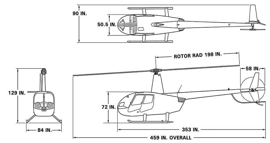 Robinson R44 Raven II Dimensions