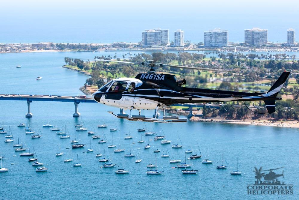 Helicopter tour from Corporate Helicopters of San Diego over the Coronado bridge.
