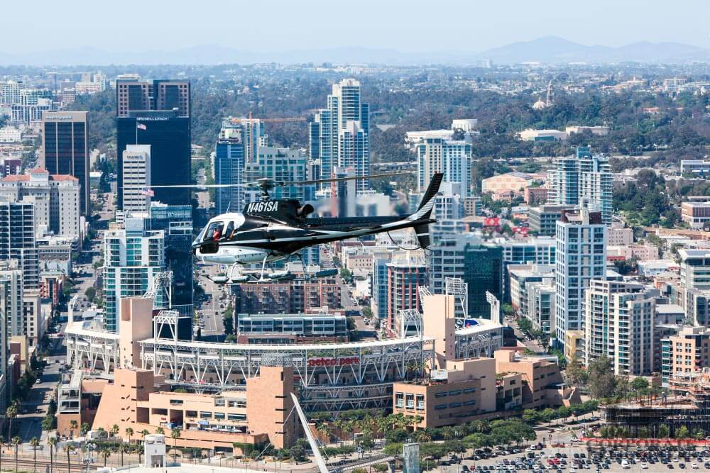 Petco Park, downtown San Diego. Helicopter tour from Corporate Helicopters of San Diego.