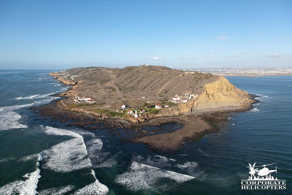 Cabrillo Point, San Diego Bay. Helicopter tour from Corporate Helicopters of San Diego.