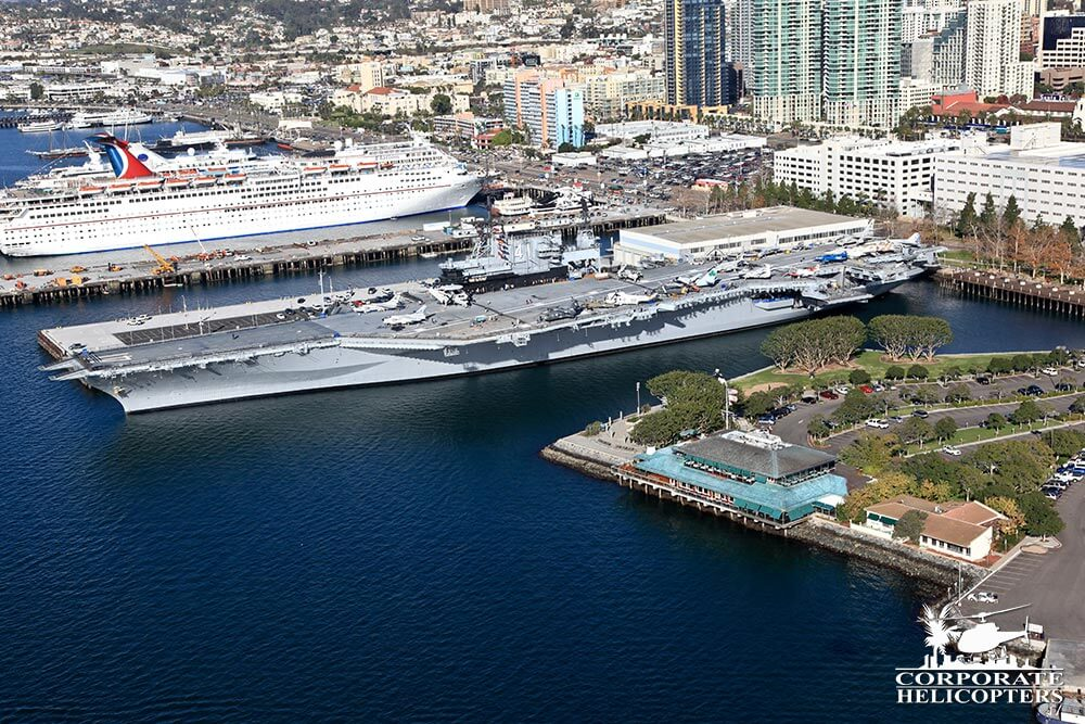 USS Midway. Helicopter tour from Corporate Helicopters of San Diego.