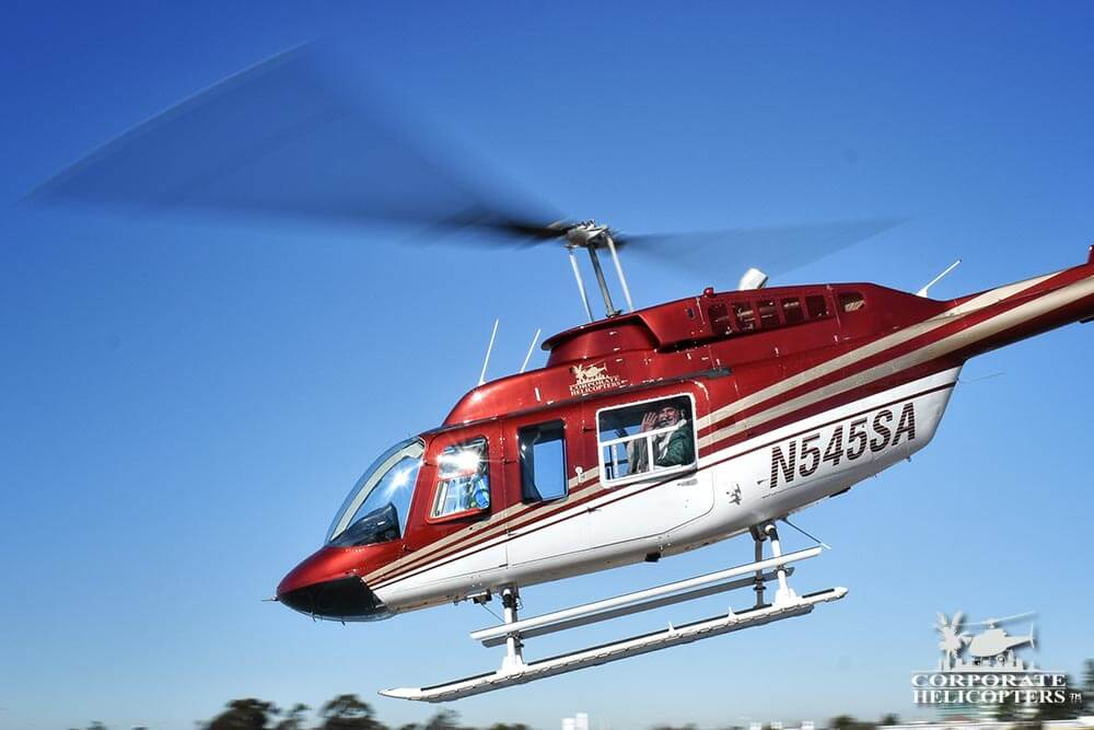 Corporate Helicopters flying Irish Santa to Bayside Elementary School