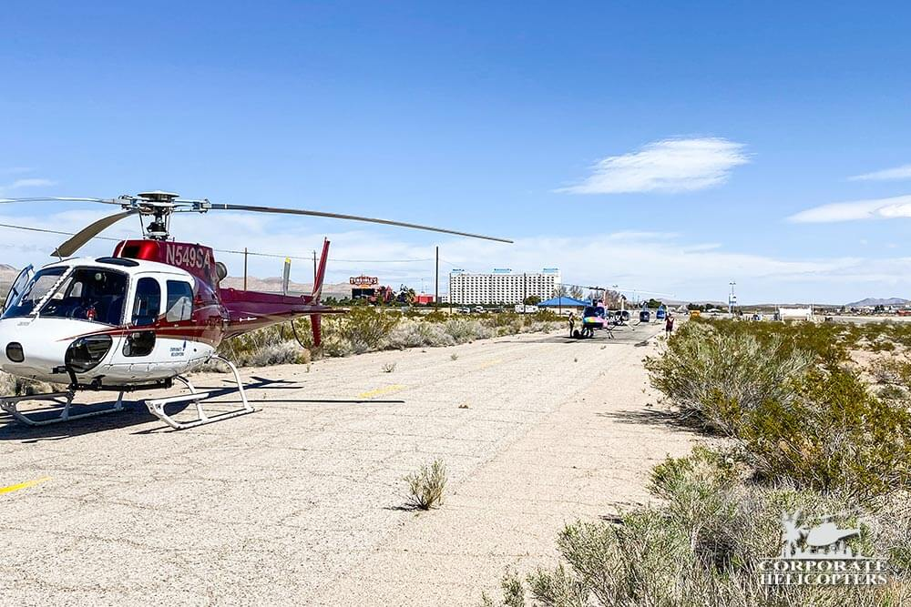 Helicopters at the start of the 2020 Mint 400 off-road race.