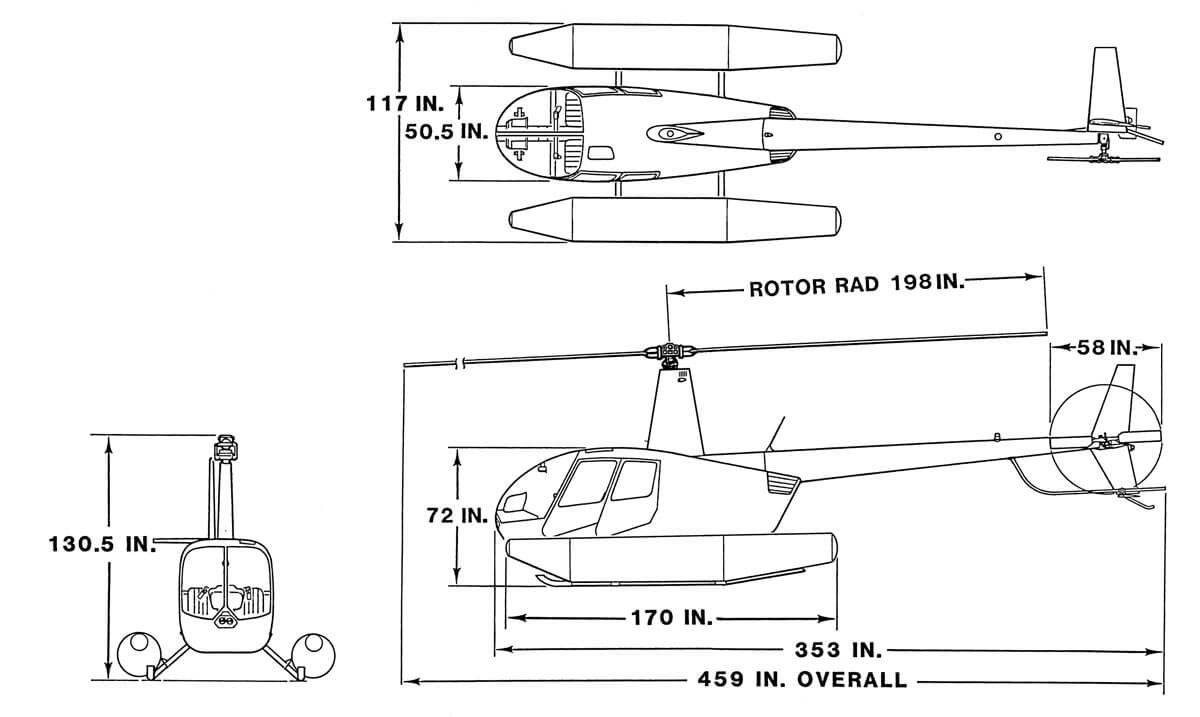 Dimensions of an R44 Clipper with fixed-utility floats