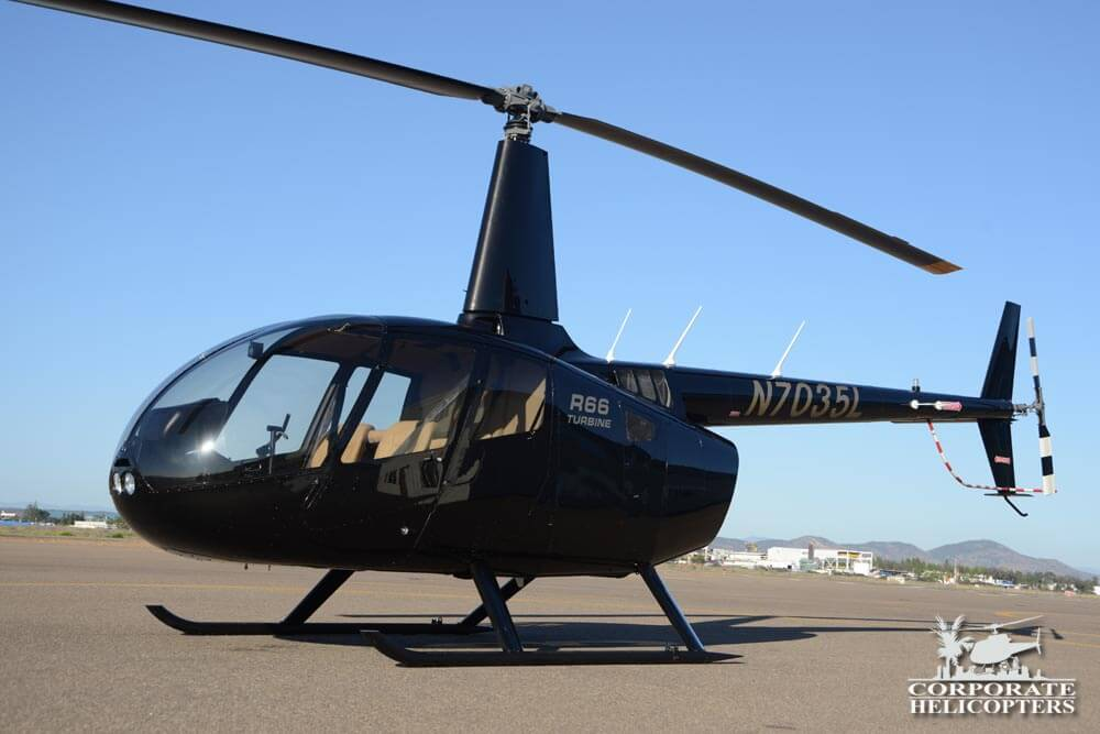 Robinson R66 2014, black. For sale at Corporate Helicopters of San Diego