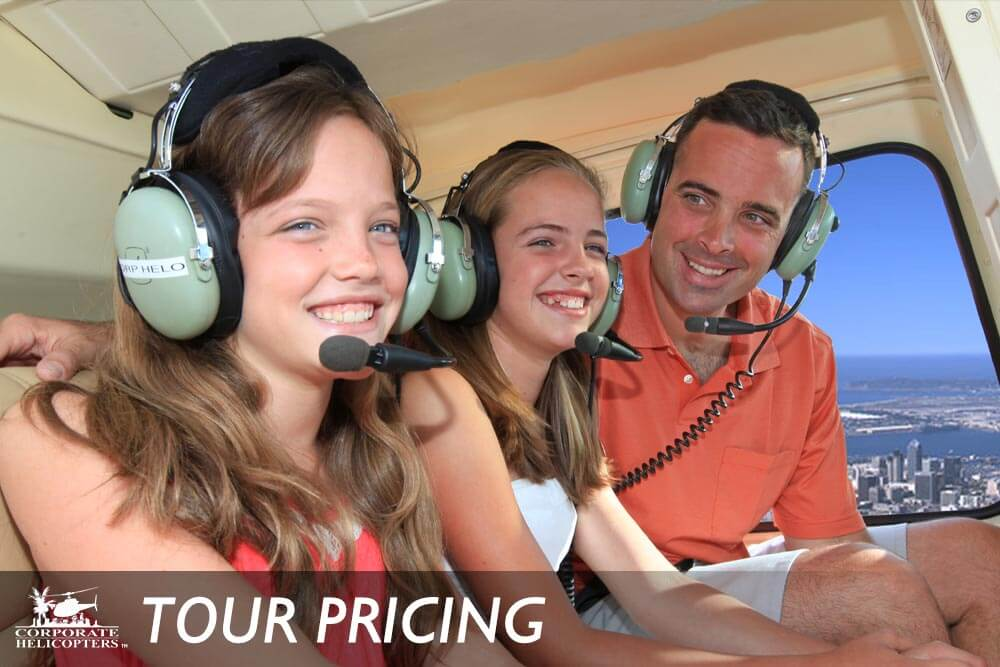Pricing on helicopter tours of San Diego from Corporate Helicopters of San Diego.