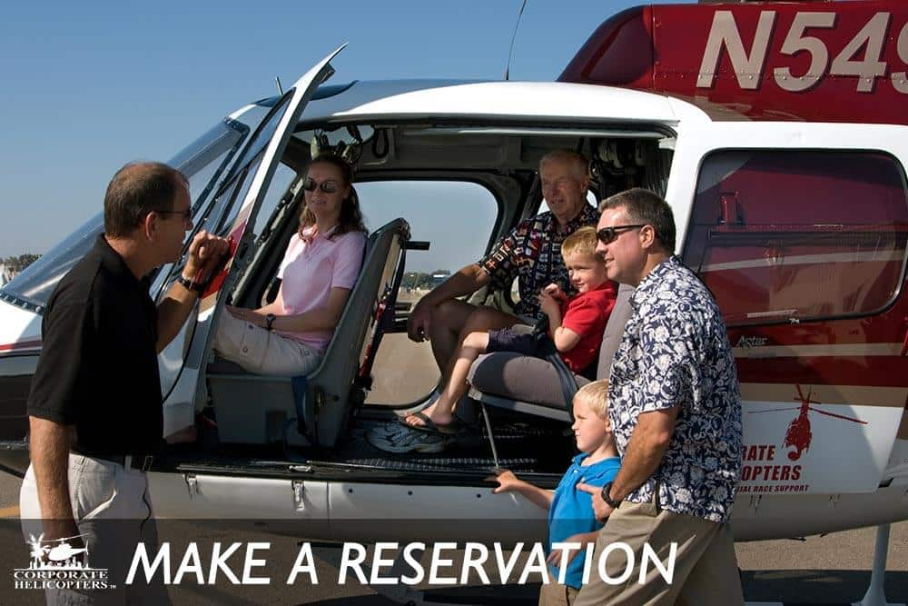 Make a reservation for a helicopter tour of San Diego, with Corporate Helicopters of San Diego.